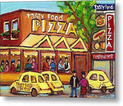 Tasty Food Pizza On Decarie Blvd Metal Print by Carole Spandau