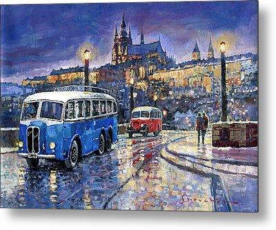 Tatra 85-91bus 1938 Praha Rnd Bus 1950 Prague Manesuv Bridge Metal Print by Yuriy Shevchuk