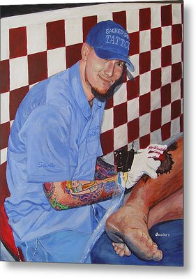 Metal Print featuring the painting Tattoo Artist - Brandon Notch by Quwatha Valentine