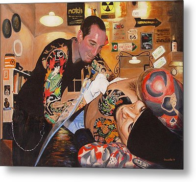 Metal Print featuring the painting Tattoo Artist by Quwatha Valentine