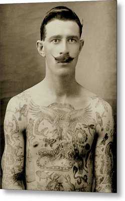 Tattooed British Sailor During The First World War Metal Print by English School