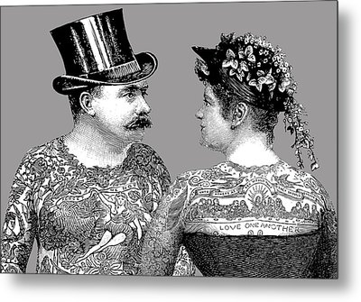 Tattooed Victorian Lovers Metal Print by Eclectic at HeART