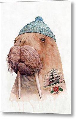 Tattooed Walrus Metal Print by Animal Crew