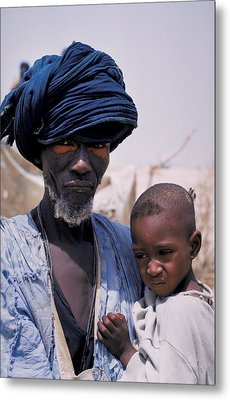 Taureg Father And Son In Senegal Metal Print by Carl Purcell