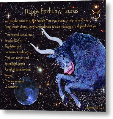 Taurus Birthday Zodiac Astrology Metal Print