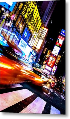 Taxi Square Metal Print by Az Jackson