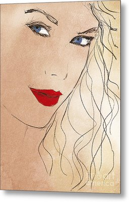 Taylor Red Lips Metal Print