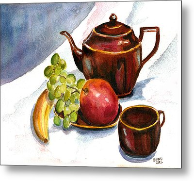 Tea And Fruit Metal Print
