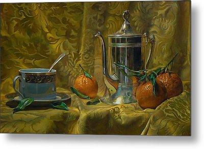 Tea And Oranges Metal Print by Jeffrey Hayes