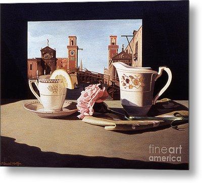 Tea And Venetian Landscape Metal Print by Daniel Montoya