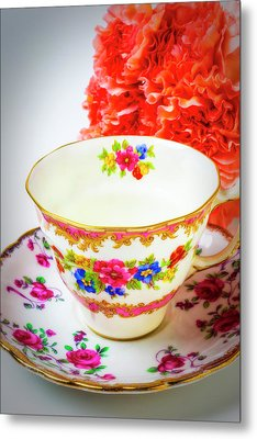 Tea Cup And Carnations Metal Print by Garry Gay