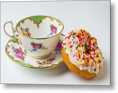 Tea Cup And Donut Metal Print by Garry Gay