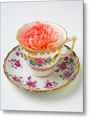 Tea Cup With Carnation Metal Print by Garry Gay