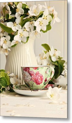 Tea Cup With Fresh Flower Blossoms Metal Print by Sandra Cunningham