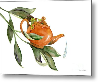 Tea Frog Metal Print by Amy Kirkpatrick