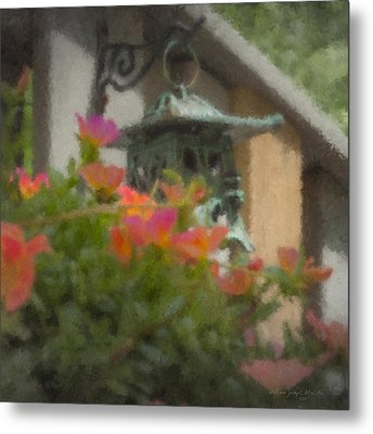 Tea Lantern And Portulaca Metal Print