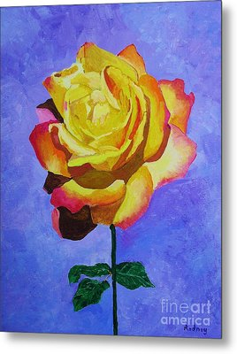 Metal Print featuring the painting Tea Rose by Rodney Campbell