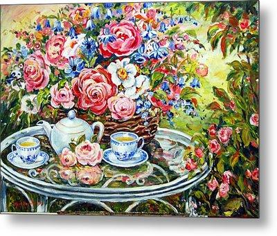 Tea Service Metal Print by Alexandra Maria Ethlyn Cheshire