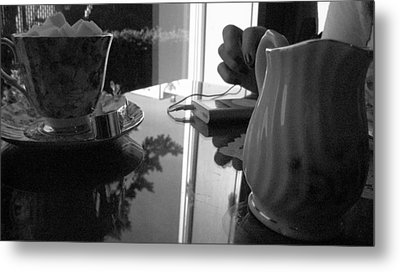 Tea Time With Music Metal Print by Michael Lee