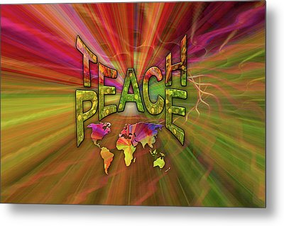 Teach Peace Metal Print by Nadine May