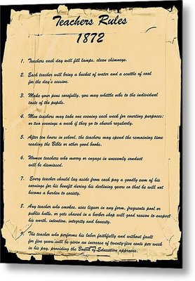 Teachers Rules 1872 Metal Print
