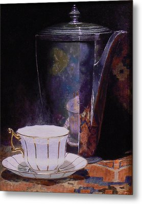 Teacup And Teapot On An Oriental Rug Metal Print by Jeffrey Hayes
