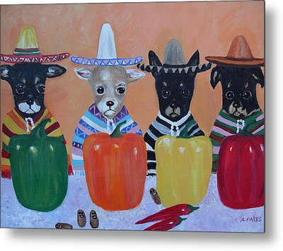 Teacup Chihuahuas In Mexico Metal Print by Aleta Parks