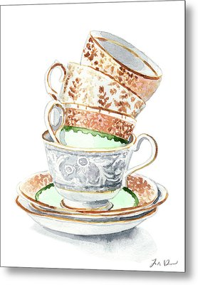 Teacups Collection Antique Watercolor Painting - Mismatched Green Gold Tea Party Alice In Wonderland Metal Print by Laura Row