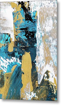 Metal Print featuring the painting Teal Abstract by Christina Rollo