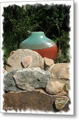 Teal And Brown Clay Pot  Metal Print by Judy  Waller