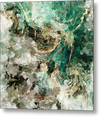 Metal Print featuring the painting Teal And Cream Abstract Painting by Ayse Deniz