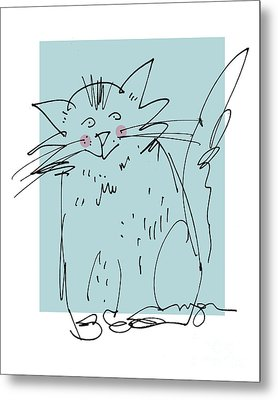 Teal Cat Metal Print