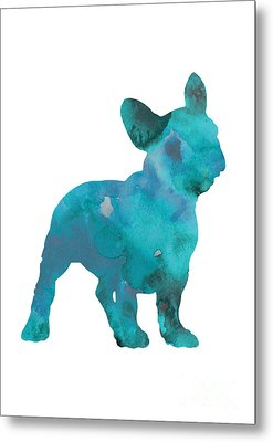 Teal Frenchie Abstract Painting Metal Print by Joanna Szmerdt