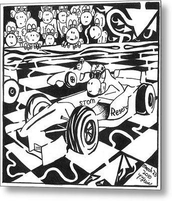 Team Of Monkeys Go Kart Race Metal Print by Yonatan Frimer Maze Artist