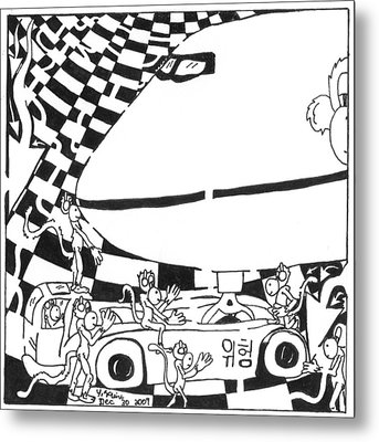 Team Of Monkeys Ground Crew Metal Print by Yonatan Frimer Maze Artist