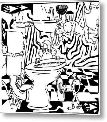 Team Of Monkeys Plumbers Maze Metal Print by Yonatan Frimer Maze Artist