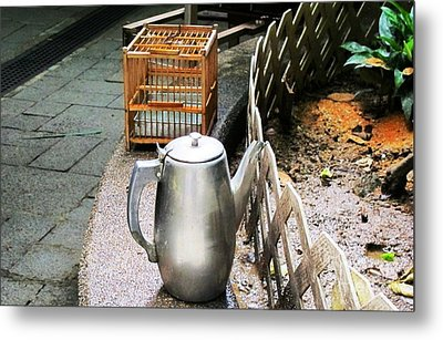 Teapot And Birdcage Metal Print by Ethna Gillespie