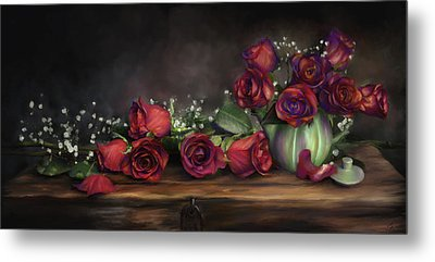 Metal Print featuring the digital art Teapot Roses by Susan Kinney