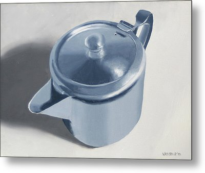 Teapot Still Life Oil Painting Metal Print by Mark Webster