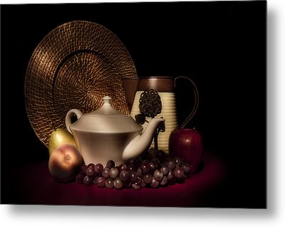 Teapot With Fruit Still Life Metal Print