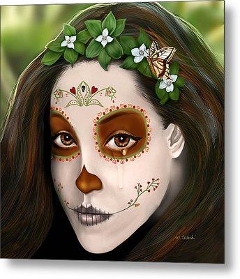 Teary Eyed Day Of The Dead Sugar Skull  Metal Print