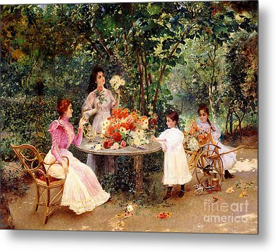 Teatime In The Garden Metal Print by Edouard Frederic Wilhelm Richter
