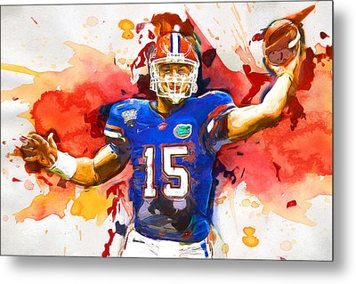 Tebow Splash Td Metal Print by John Farr