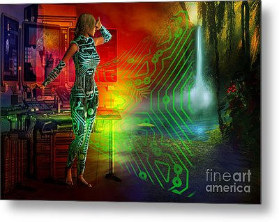 Metal Print featuring the digital art Techno Future by Shadowlea Is