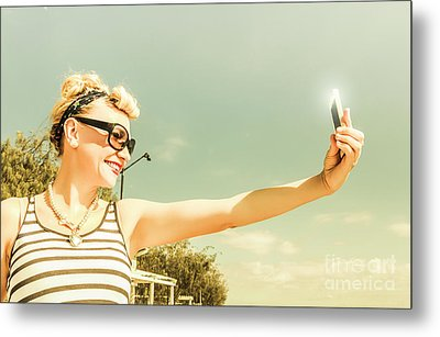 Technology Savy Female Hipster Metal Print by Jorgo Photography - Wall Art Gallery