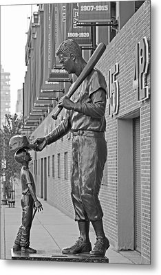 Ted Williams Statue Boston Ma Fenway Park Black And White Metal Print by Toby McGuire
