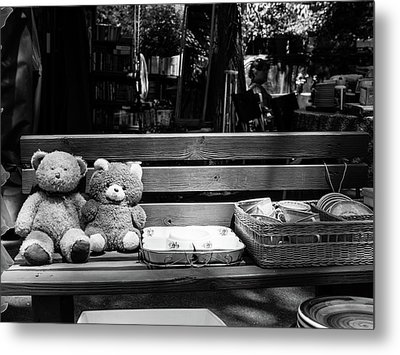 Teddy Bear Lovers On The Bench Metal Print