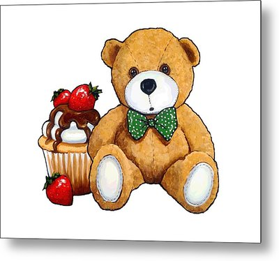 Teddy Bear Party, Bear With Cupcake Metal Print by Joyce Geleynse
