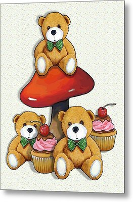 Teddy Bear Party With Toadstool And Cupcakes Metal Print by Joyce Geleynse