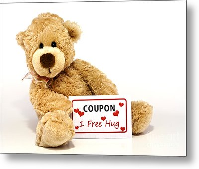 Teddy Bear With Hug Coupon Metal Print by Blink Images